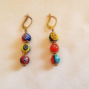 Morano Millefiori Italian Glass earrings